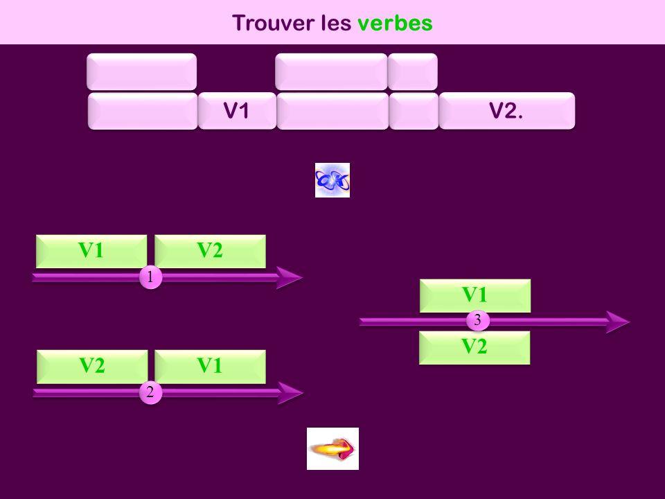 mod1 Trouver les verbes V1 V1 V2 V2 V1 V1 V2 V2 V2 V1 V1 1 1 3 3 2 2 V2.