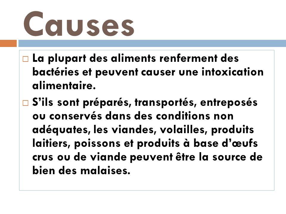 Causes La plupart des aliments renferment des bactéries et peuvent causer une intoxication alimentaire. Sils sont préparés, transportés, entreposés ou