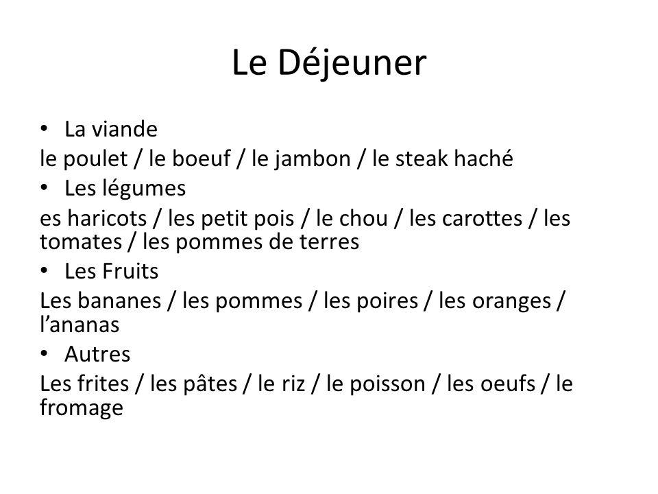 Le Déjeuner La viande le poulet / le boeuf / le jambon / le steak haché Les légumes es haricots / les petit pois / le chou / les carottes / les tomate