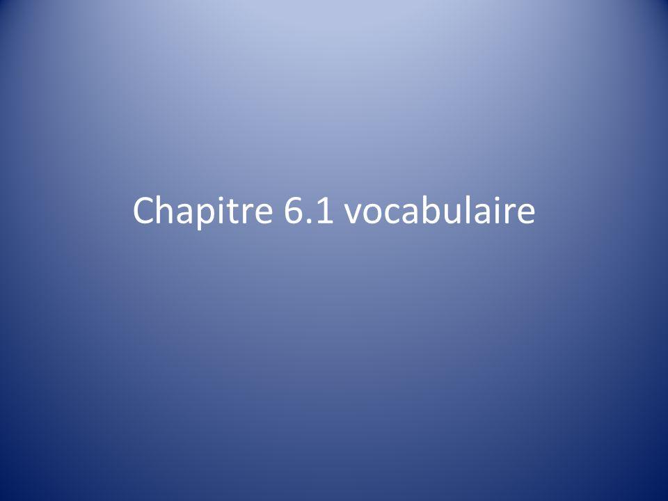 Chapitre 6.1 vocabulaire