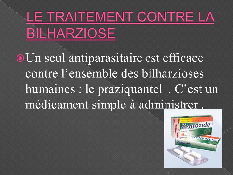 Un seul antiparasitaire est efficace contre lensemble des bilharzioses humaines : le praziquantel. Cest un médicament simple à administrer.