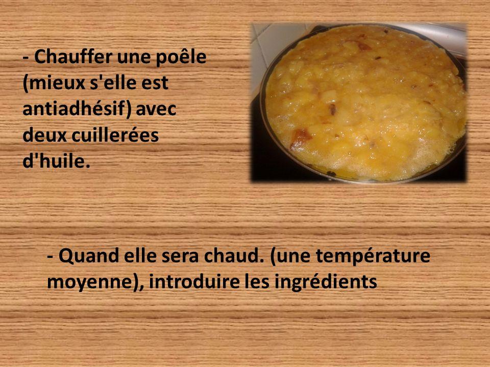 - Chauffer une poêle (mieux s elle est antiadhésif) avec deux cuillerées d huile.
