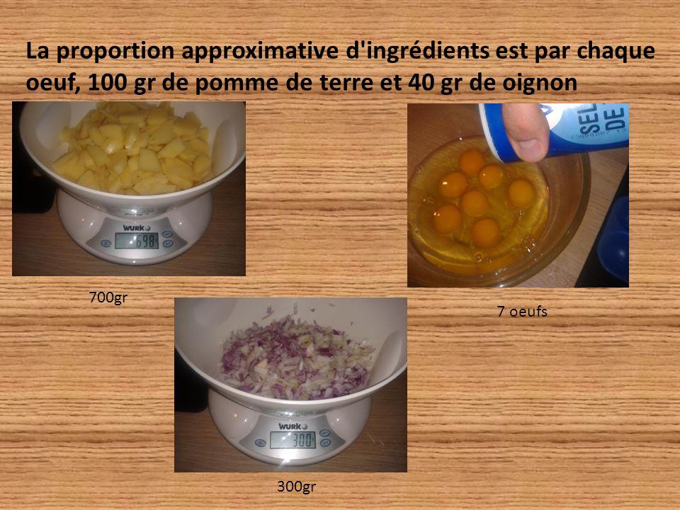 La proportion approximative d ingrédients est par chaque oeuf, 100 gr de pomme de terre et 40 gr de oignon 700gr 300gr 7 oeufs