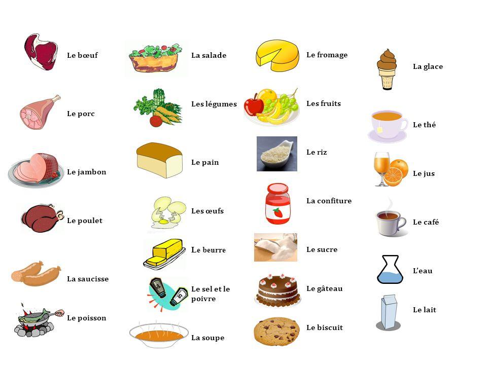 Le fromage Les fruits Le riz La confiture Le sucre Le gâteau Le biscuit La salade Les légumes Le pain Les œufs Le beurre Le sel et le poivre La soupe