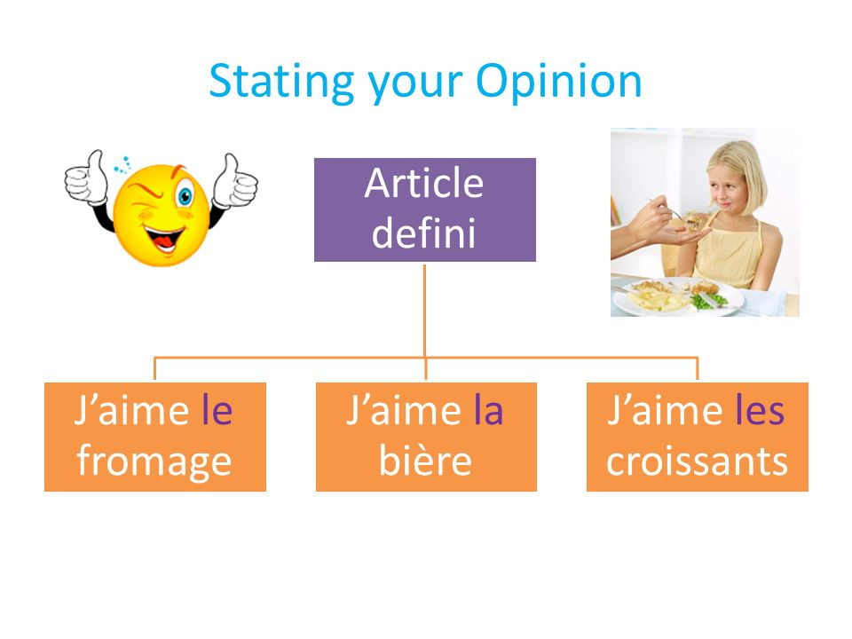 Stating your Opinion Article defini Jaime le fromage Jaime la bière Jaime les croissants