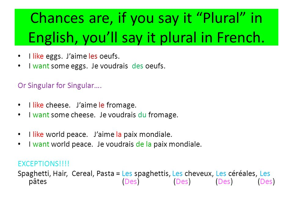 Chances are, if you say it Plural in English, youll say it plural in French.