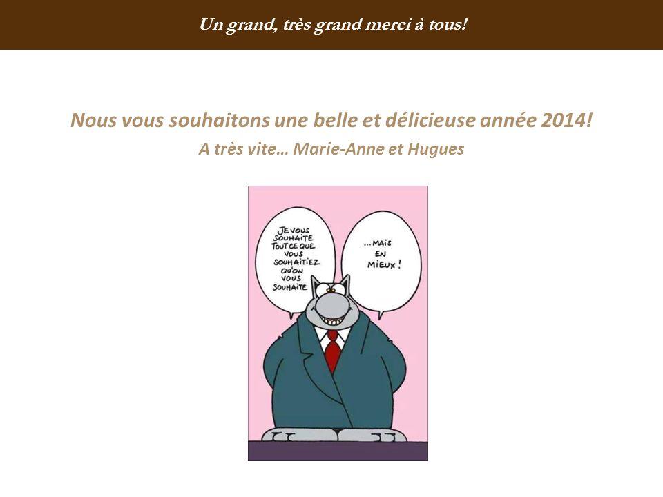 Nous vous souhaitons une belle et délicieuse année 2014! A très vite… Marie-Anne et Hugues Un grand, très grand merci à tous!