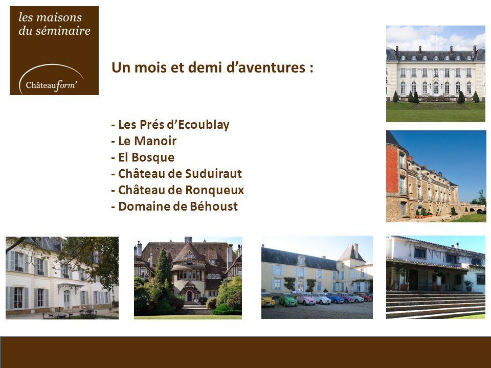 Un mois et demi daventures : - Les Prés dEcoublay - Le Manoir - El Bosque - Château de Suduiraut - Château de Ronqueux - Domaine de Béhoust