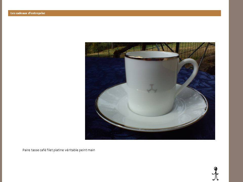 Les cadeaux dentreprise Paire tasse café filet platine véritable peint main