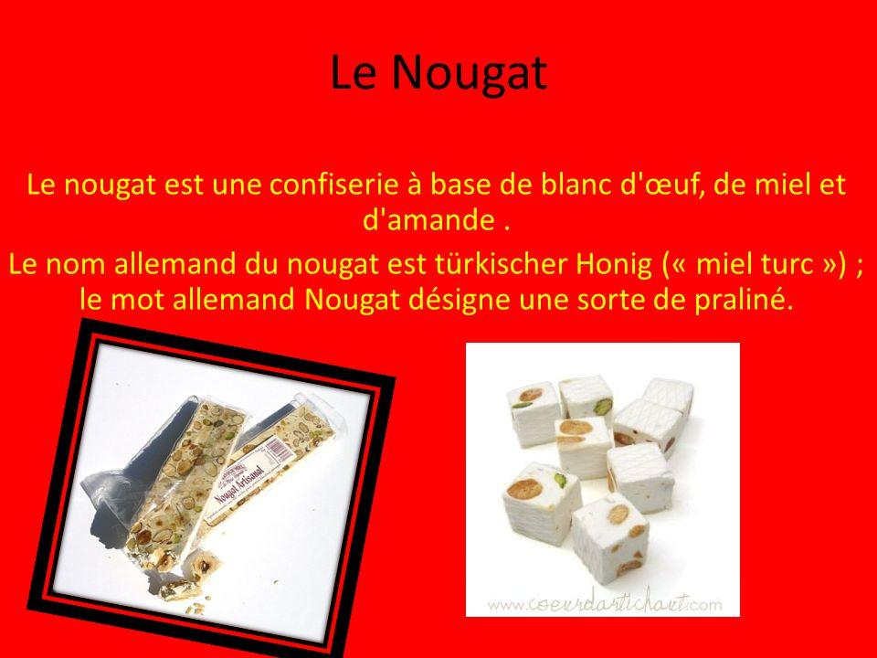 Le Nougat Le nougat est une confiserie à base de blanc d œuf, de miel et d amande.