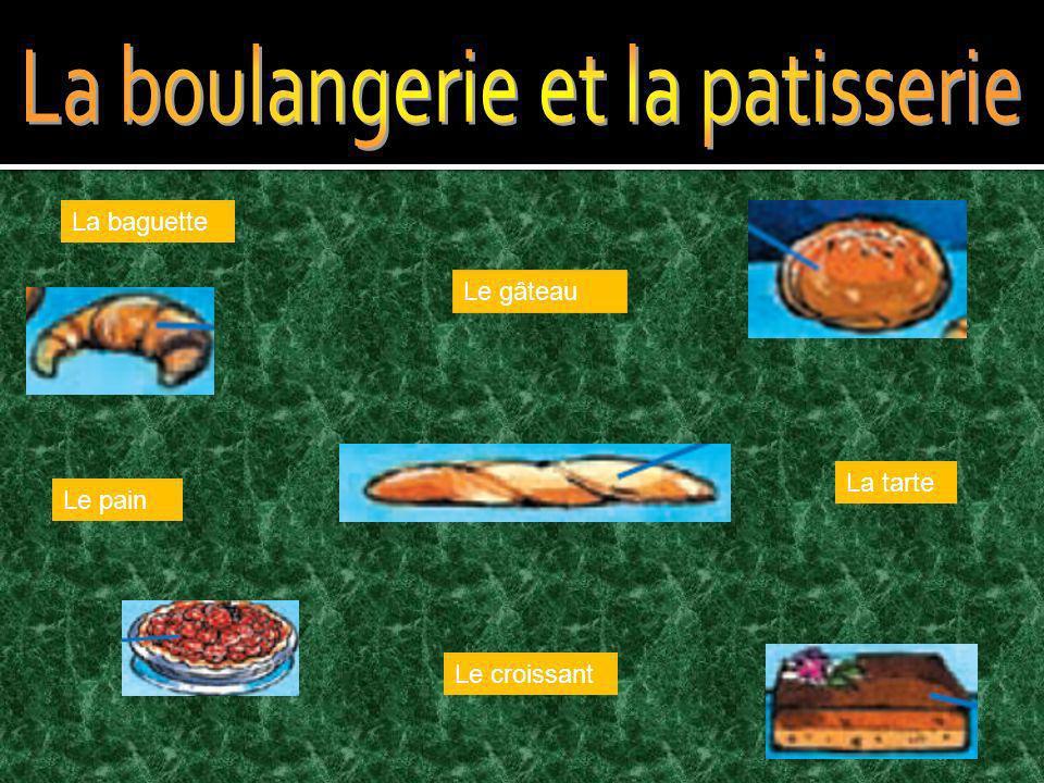 Le croissant Le gâteau Le pain La baguette La tarte
