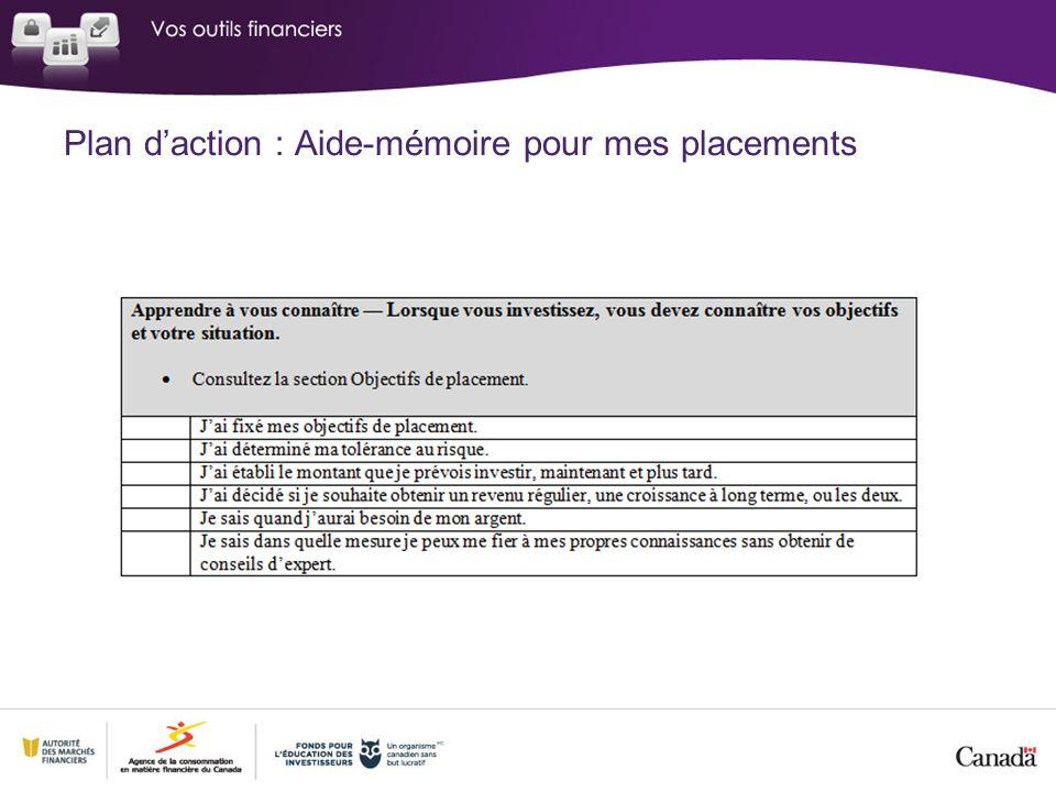 Plan daction : Aide-mémoire pour mes placements