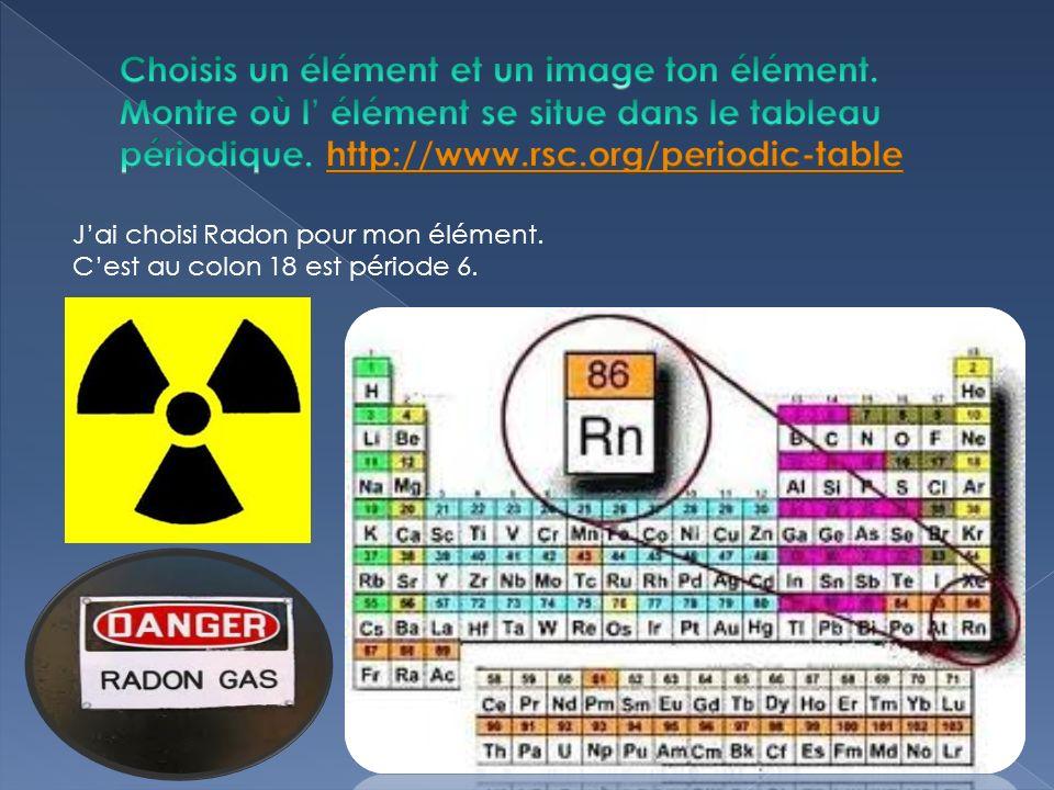 Jai choisi Radon pour mon élément. Cest au colon 18 est période 6.