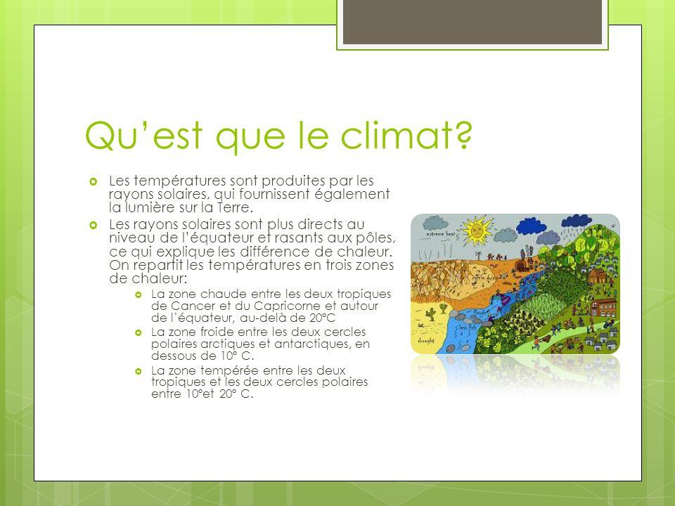Quest que le climat? Les températures sont produites par les rayons solaires, qui fournissent également la lumière sur la Terre. Les rayons solaires s