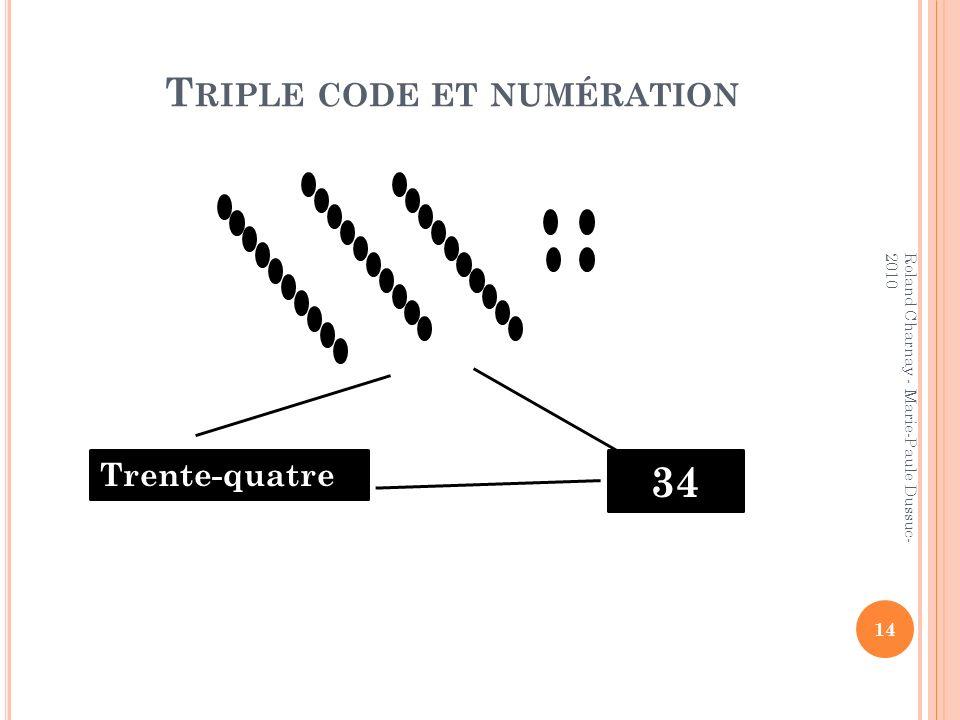 T RIPLE CODE ET NUMÉRATION 14 Roland Charnay - Marie-Paule Dussuc- 2010 Trente-quatre 34