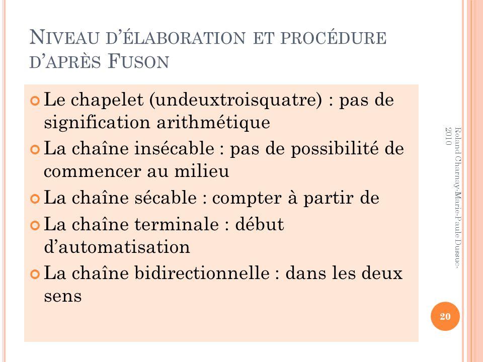N IVEAU D ÉLABORATION ET PROCÉDURE D APRÈS F USON Le chapelet (undeuxtroisquatre) : pas de signification arithmétique La chaîne insécable : pas de pos