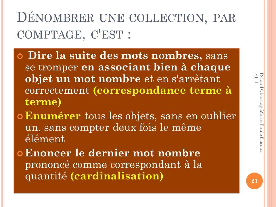 D ÉNOMBRER UNE COLLECTION, PAR COMPTAGE, C ' EST : Dire la suite des mots nombres, sans se tromper en associant bien à chaque objet un mot nombre et e
