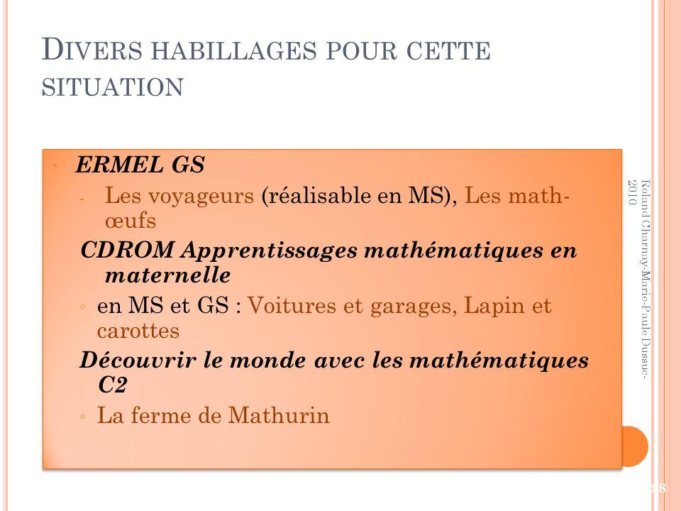 D IVERS HABILLAGES POUR CETTE SITUATION ERMEL GS - Les voyageurs (réalisable en MS), Les math- œufs CDROM Apprentissages mathématiques en maternelle e