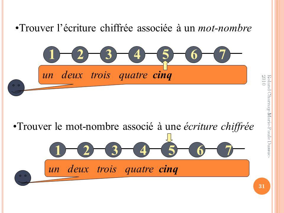 un deux trois quatre cinq 12345671234567 Trouver le mot-nombre associé à une écriture chiffrée Trouver lécriture chiffrée associée à un mot-nombre un