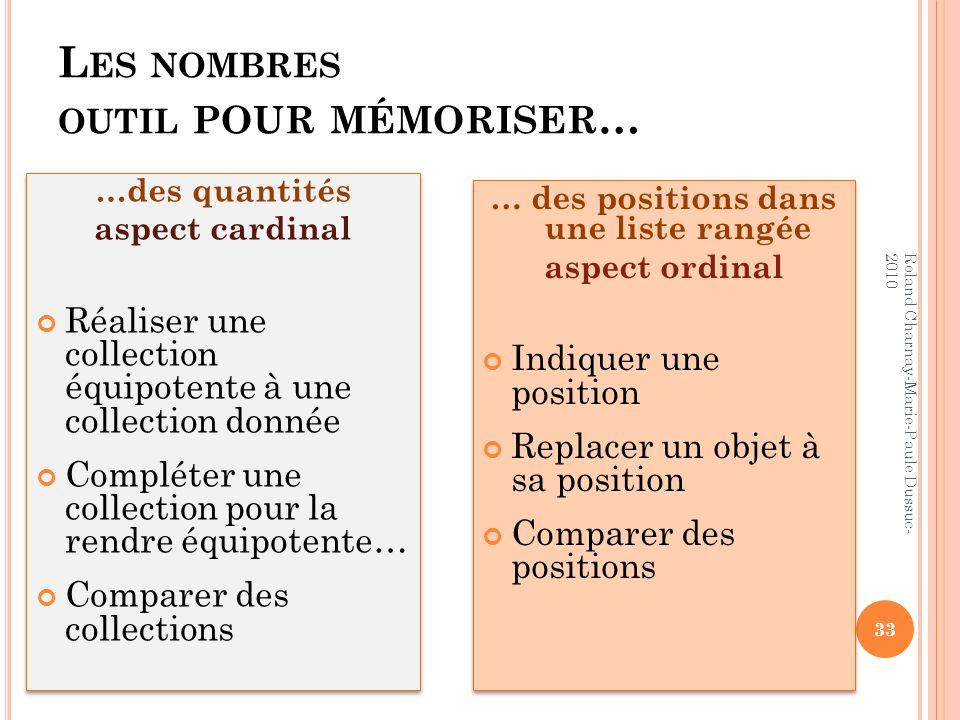 L ES NOMBRES OUTIL POUR MÉMORISER … …des quantités aspect cardinal Réaliser une collection équipotente à une collection donnée Compléter une collectio