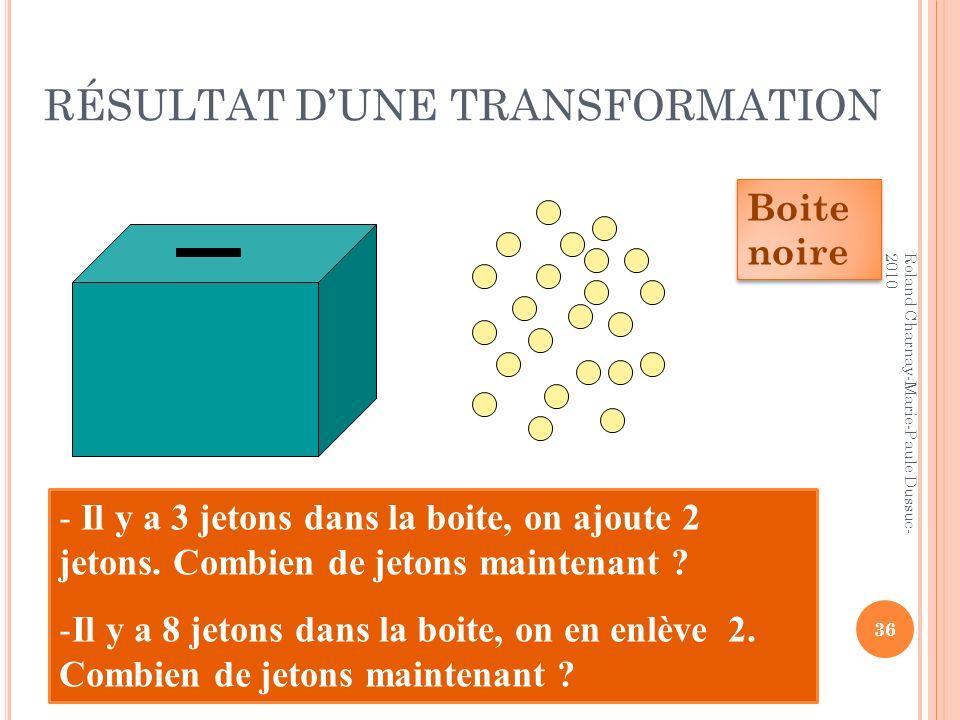RÉSULTAT DUNE TRANSFORMATION - Il y a 3 jetons dans la boite, on ajoute 2 jetons. Combien de jetons maintenant ? -Il y a 8 jetons dans la boite, on en