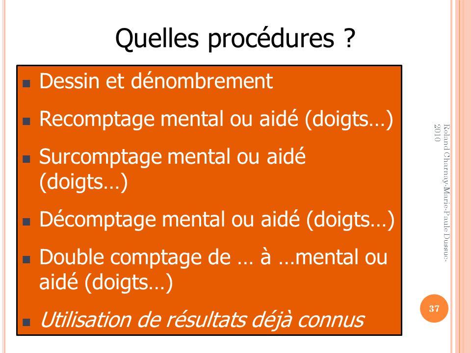 Quelles procédures ? Dessin et dénombrement Recomptage mental ou aidé (doigts…) Surcomptage mental ou aidé (doigts…) Décomptage mental ou aidé (doigts