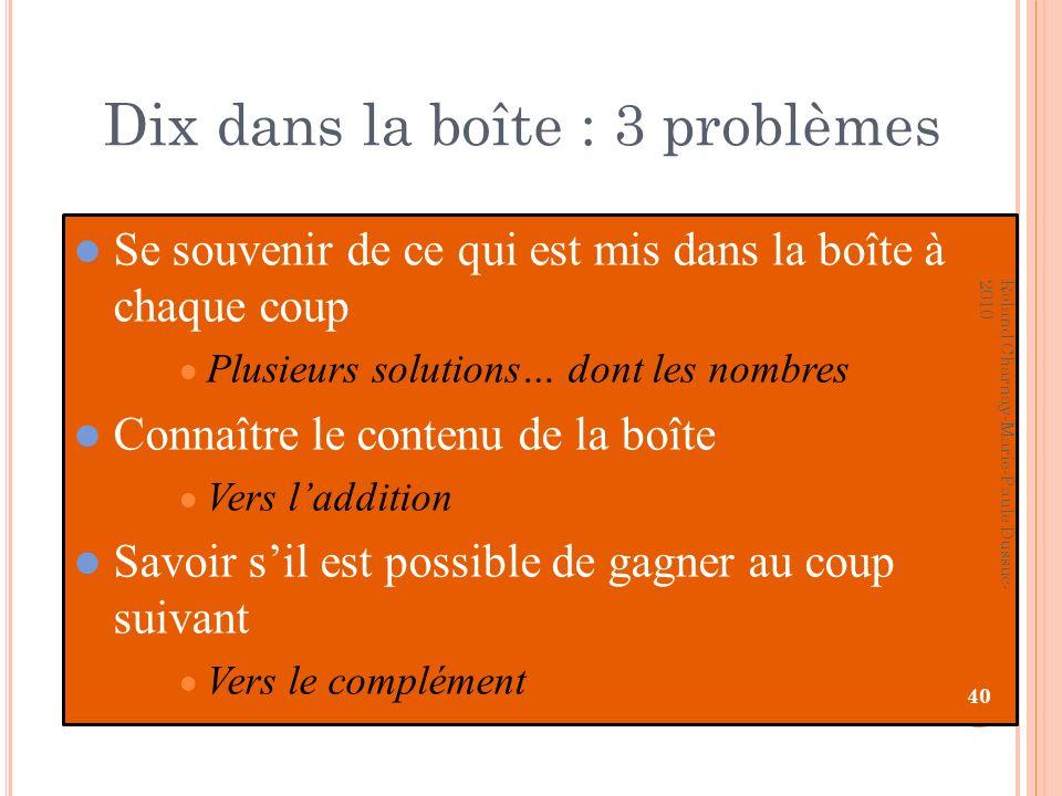 Dix dans la boîte : 3 problèmes Se souvenir de ce qui est mis dans la boîte à chaque coup Plusieurs solutions… dont les nombres Connaître le contenu d