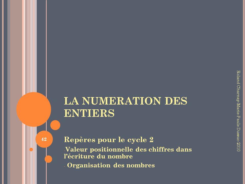 LA NUMERATION DES ENTIERS Repères pour le cycle 2 - Valeur positionnelle des chiffres dans lécriture du nombre - Organisation des nombres 42 Roland Ch