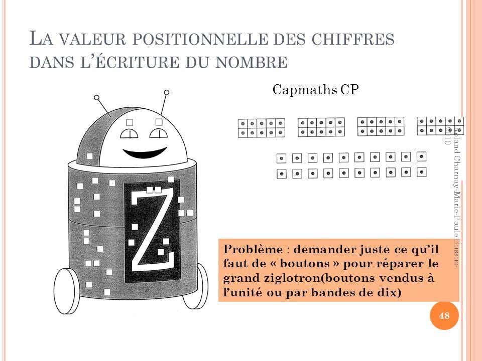 L A VALEUR POSITIONNELLE DES CHIFFRES DANS L ÉCRITURE DU NOMBRE Capmaths CP Problème : demander juste ce quil faut de « boutons » pour réparer le gran