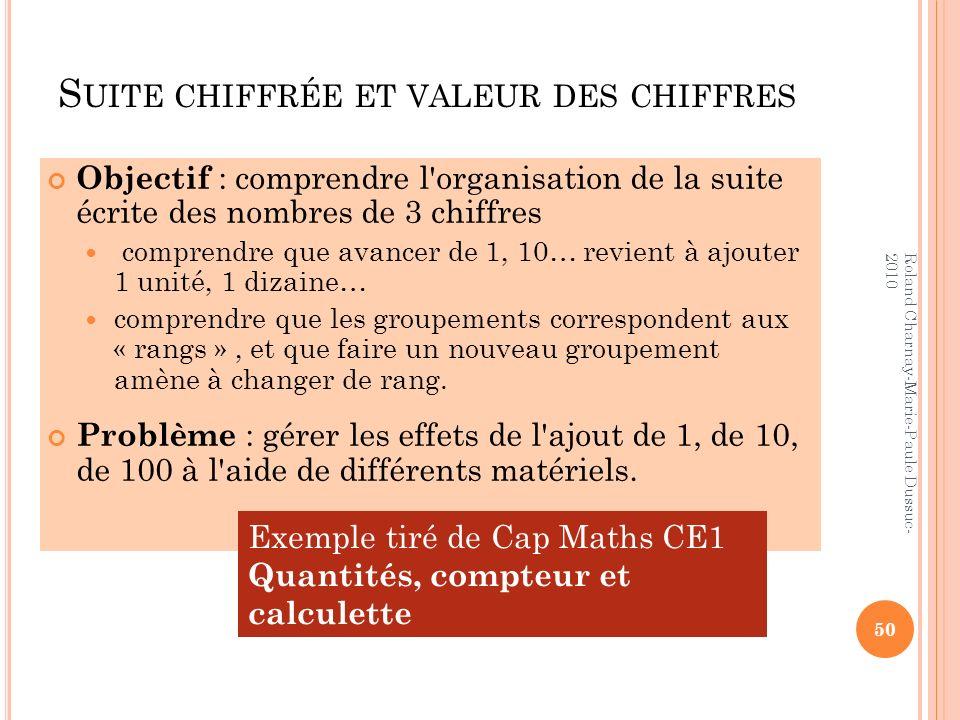 S UITE CHIFFRÉE ET VALEUR DES CHIFFRES Objectif : comprendre l'organisation de la suite écrite des nombres de 3 chiffres comprendre que avancer de 1,