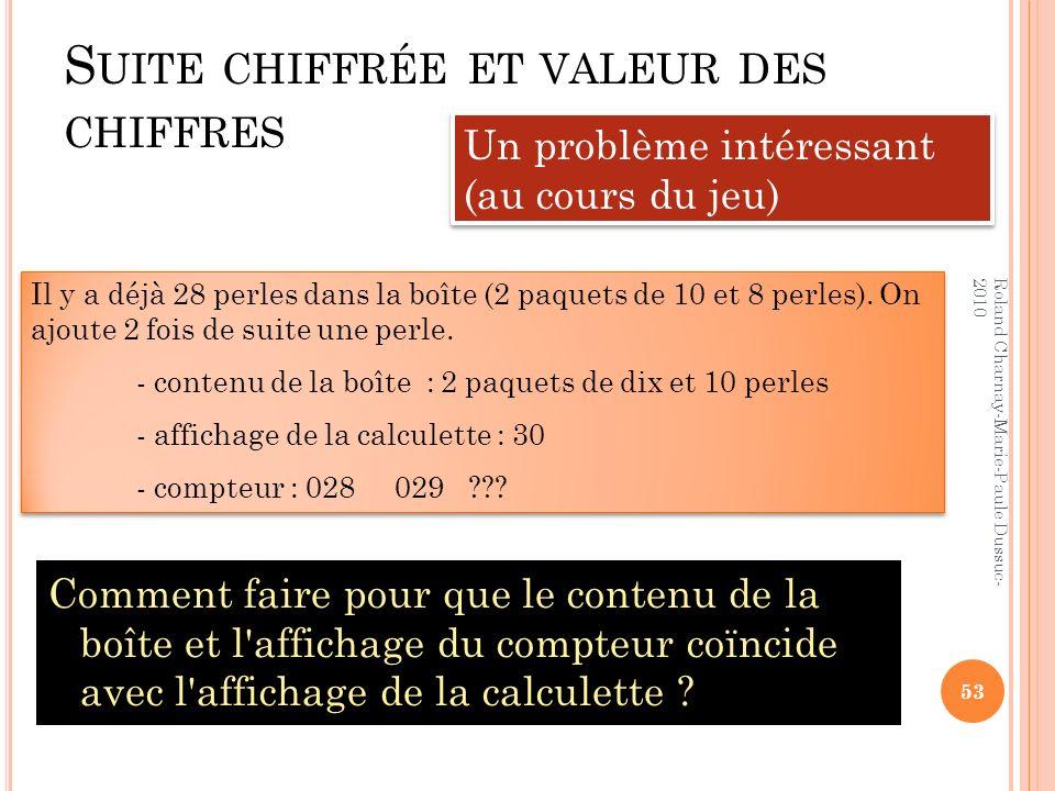 S UITE CHIFFRÉE ET VALEUR DES CHIFFRES Comment faire pour que le contenu de la boîte et l'affichage du compteur coïncide avec l'affichage de la calcul