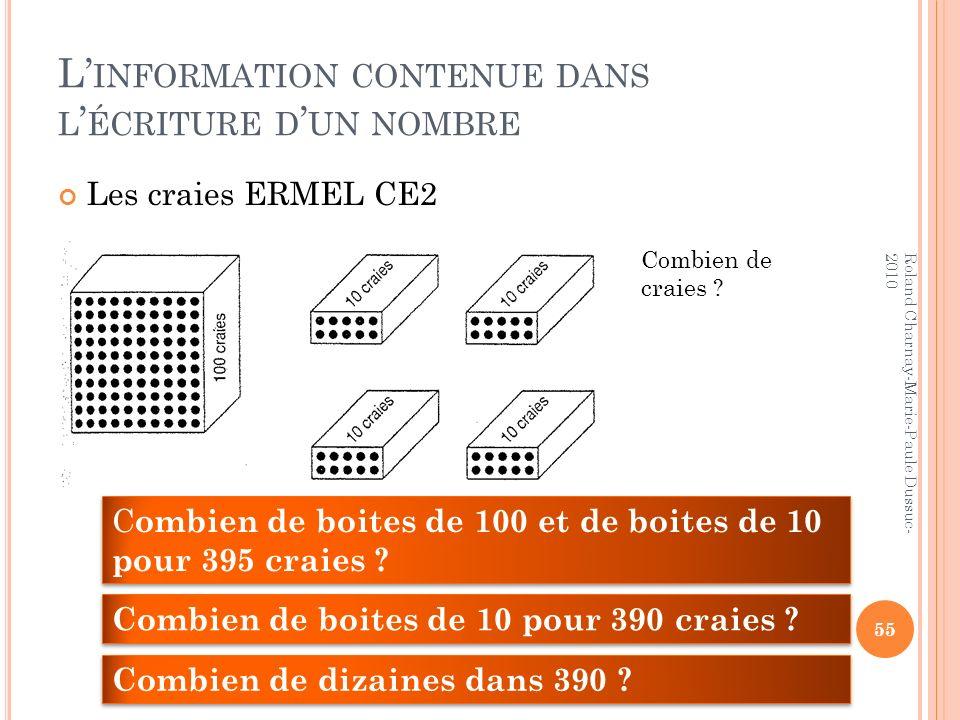 L INFORMATION CONTENUE DANS L ÉCRITURE D UN NOMBRE Les craies ERMEL CE2 55 Roland Charnay-Marie-Paule Dussuc- 2010 Combien de craies ? C ombien de boi