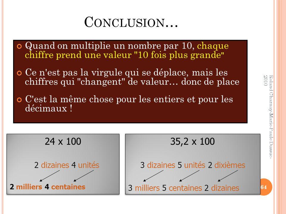 C ONCLUSION … Quand on multiplie un nombre par 10, chaque chiffre prend une valeur