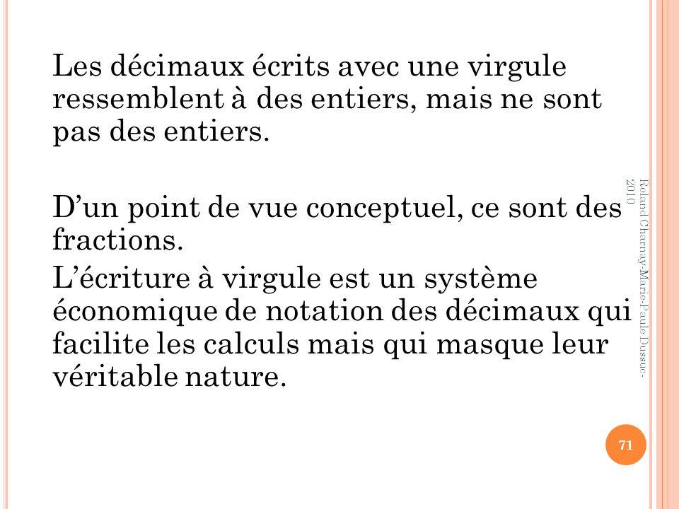 Les décimaux écrits avec une virgule ressemblent à des entiers, mais ne sont pas des entiers. Dun point de vue conceptuel, ce sont des fractions. Lécr