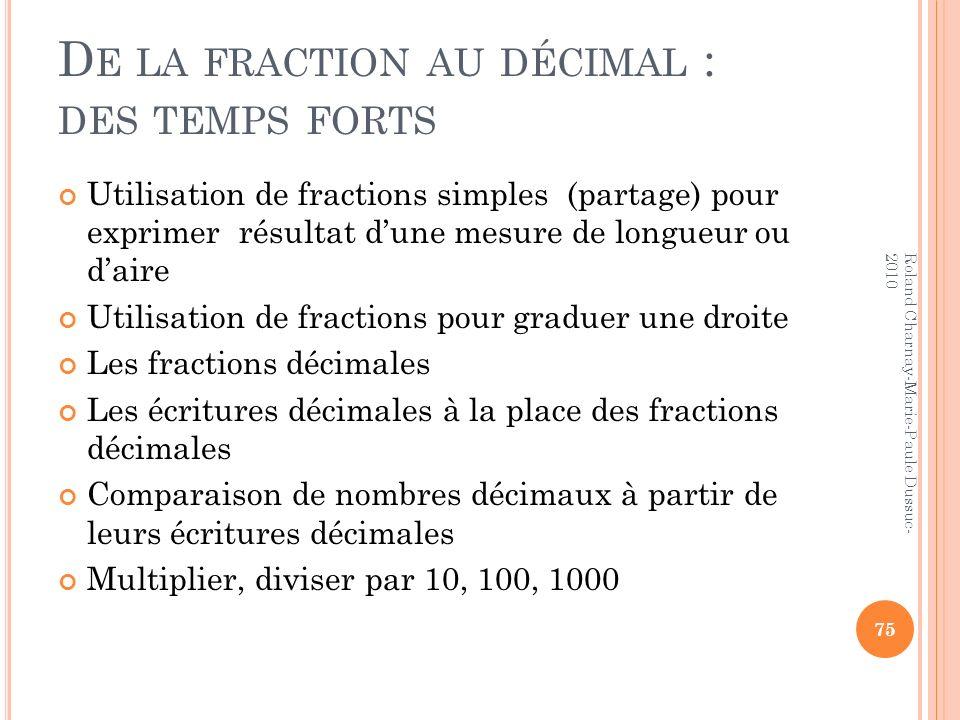 D E LA FRACTION AU DÉCIMAL : DES TEMPS FORTS Utilisation de fractions simples (partage) pour exprimer résultat dune mesure de longueur ou daire Utilis