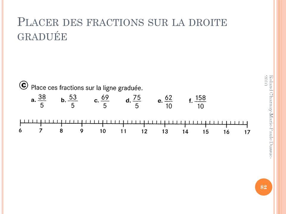 P LACER DES FRACTIONS SUR LA DROITE GRADUÉE 82 Roland Charnay-Marie-Paule Dussuc- 2010