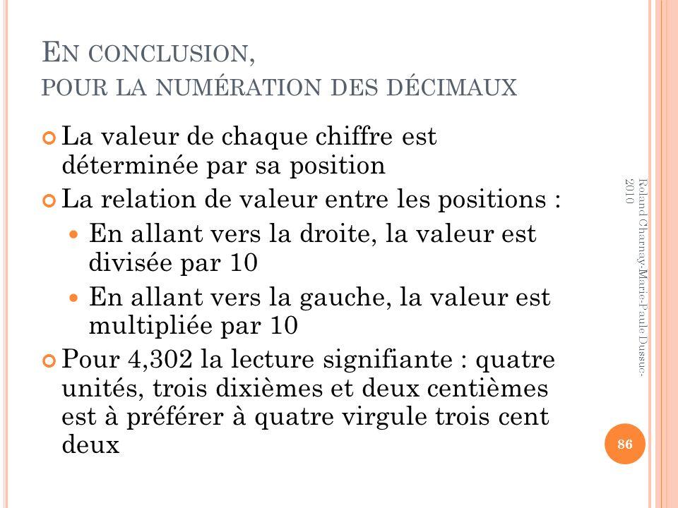 E N CONCLUSION, POUR LA NUMÉRATION DES DÉCIMAUX La valeur de chaque chiffre est déterminée par sa position La relation de valeur entre les positions :