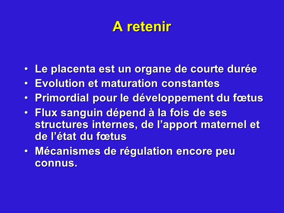 A retenir Le placenta est un organe de courte duréeLe placenta est un organe de courte durée Evolution et maturation constantesEvolution et maturation