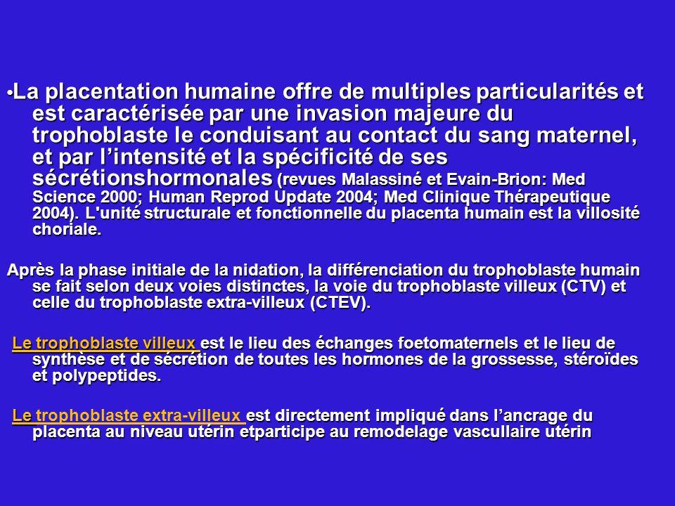 La placentation humaine offre de multiples particularités et est caractérisée par une invasion majeure du trophoblaste le conduisant au contact du san
