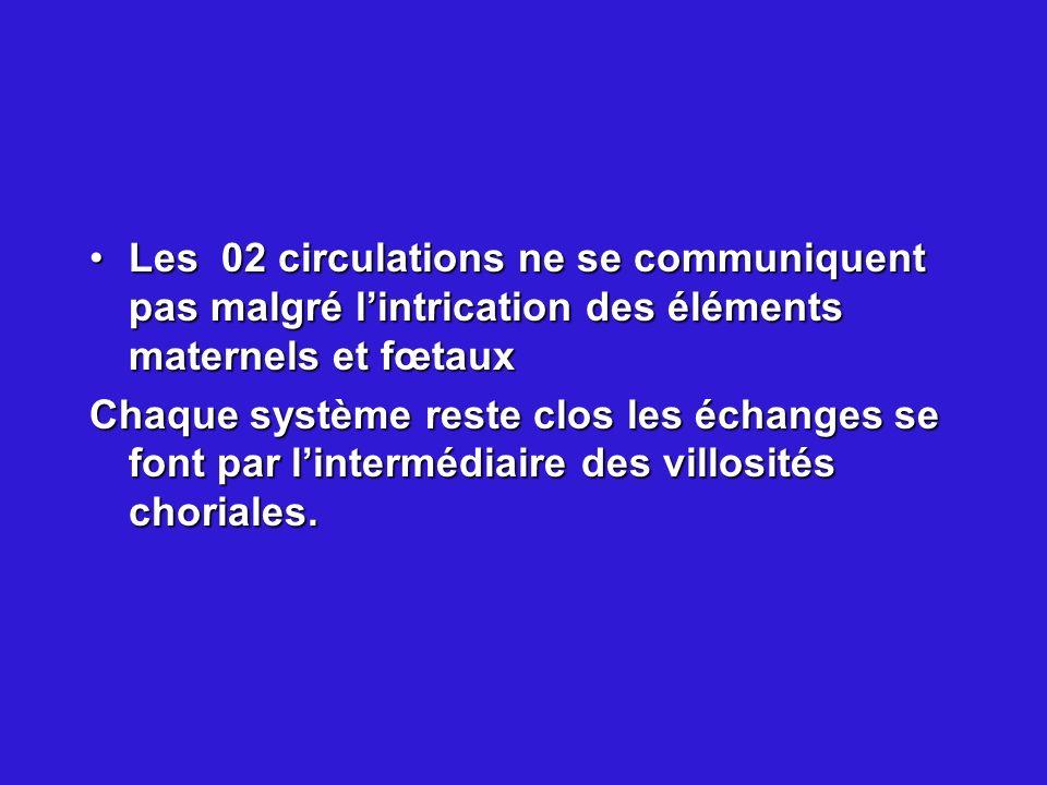 Les 02 circulations ne se communiquent pas malgré lintrication des éléments maternels et fœtauxLes 02 circulations ne se communiquent pas malgré lintr