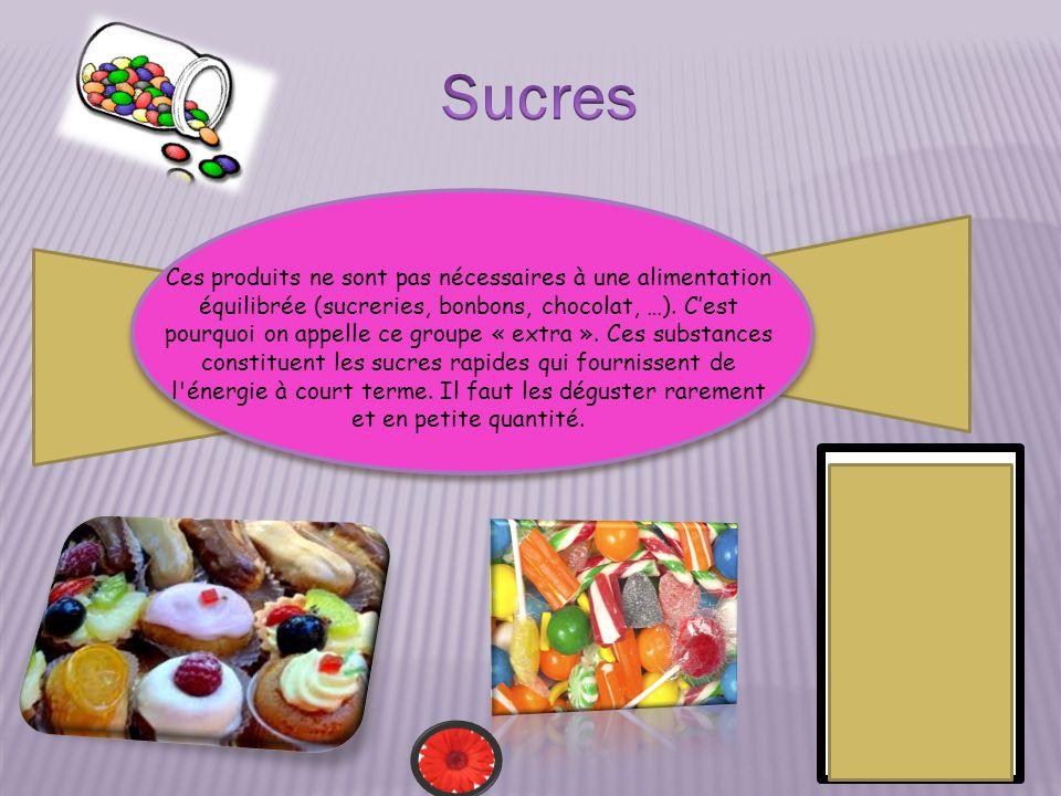 Ces produits ne sont pas nécessaires à une alimentation équilibrée (sucreries, bonbons, chocolat, …). Cest pourquoi on appelle ce groupe « extra ». Ce