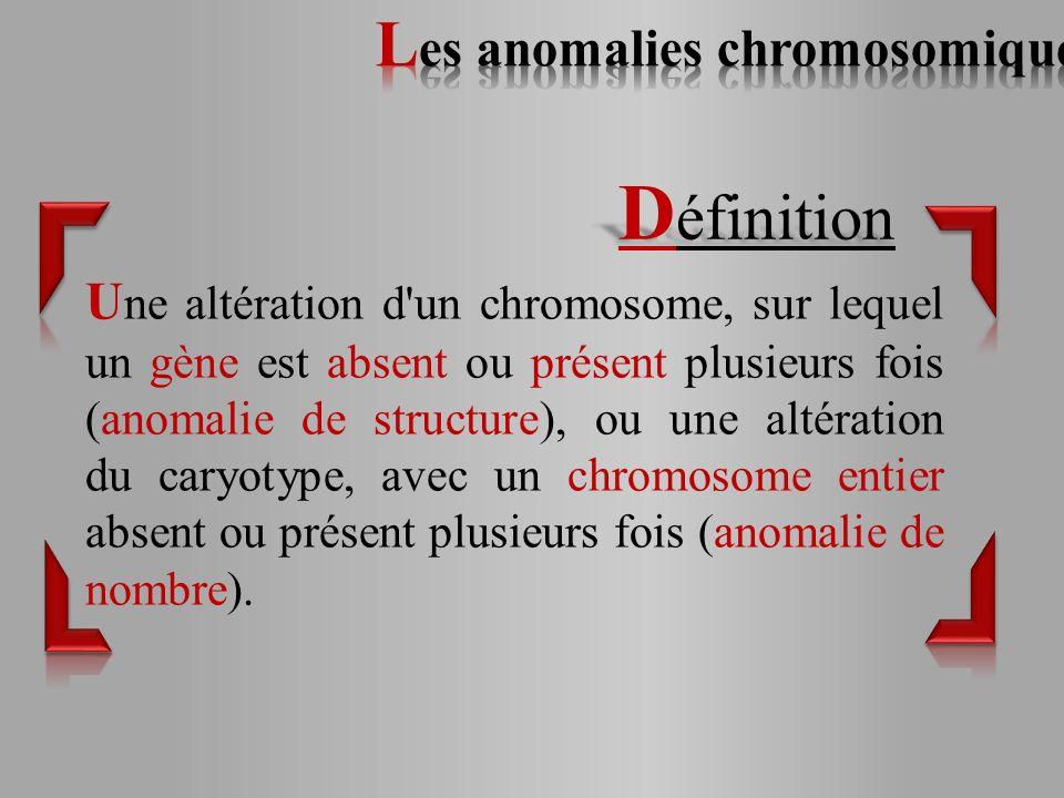 U ne altération d un chromosome, sur lequel un gène est absent ou présent plusieurs fois (anomalie de structure), ou une altération du caryotype, avec un chromosome entier absent ou présent plusieurs fois (anomalie de nombre).