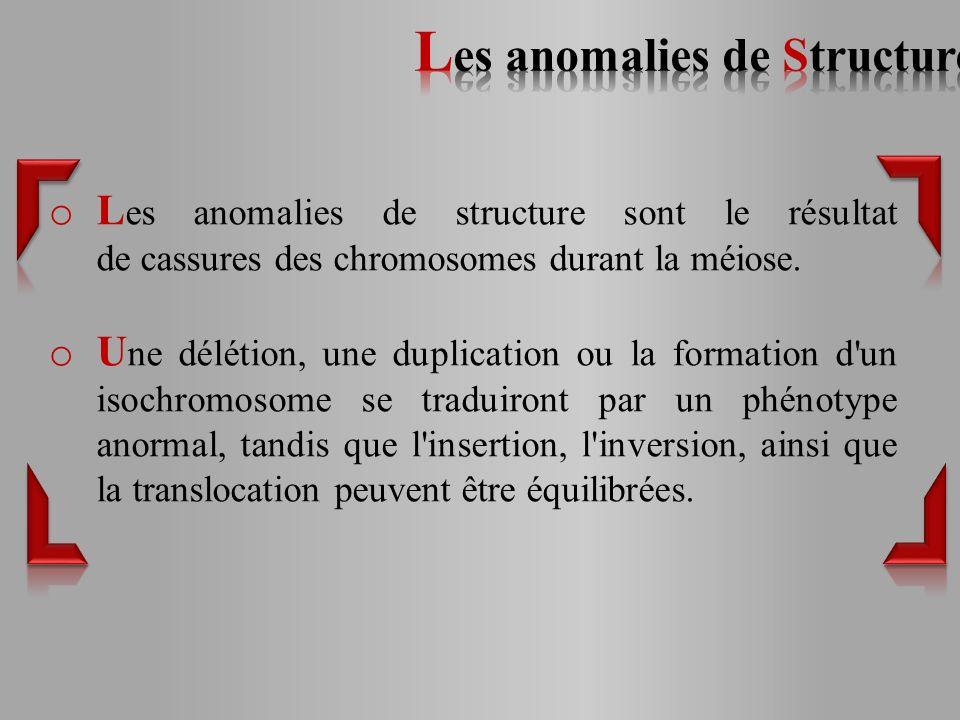 o L es anomalies de structure sont le résultat de cassures des chromosomes durant la méiose.