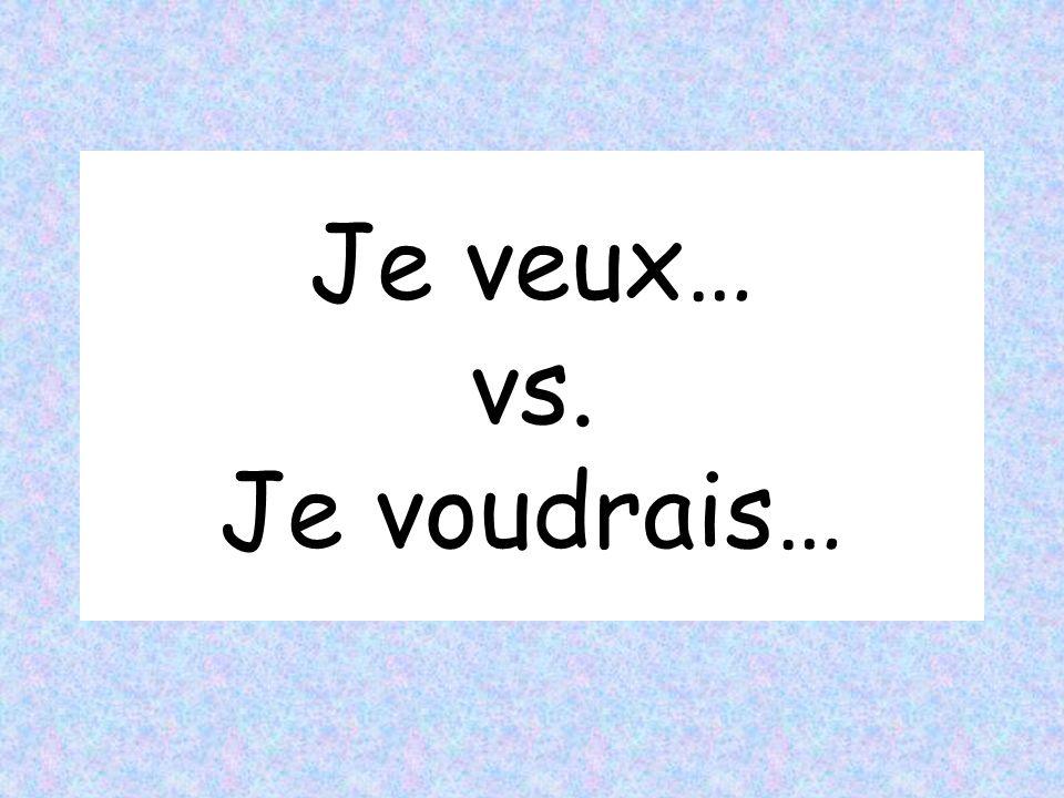VOULOIR = to want (present tense) jenous tuvous il / elleils / elles veux veut voulons voulez veulent