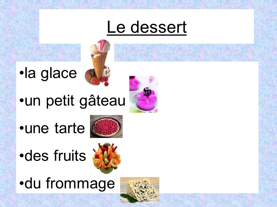Imagine that you are in a French café.Place an order with your dialogue partner.