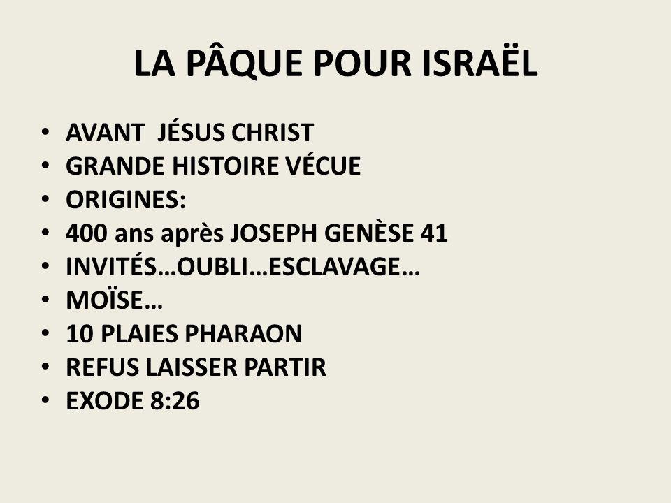 LA PÂQUE POUR ISRAËL AVANT JÉSUS CHRIST GRANDE HISTOIRE VÉCUE ORIGINES: 400 ans après JOSEPH GENÈSE 41 INVITÉS…OUBLI…ESCLAVAGE… MOÏSE… 10 PLAIES PHARA