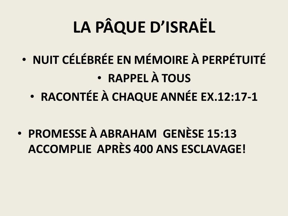LA PÂQUE DISRAËL NUIT CÉLÉBRÉE EN MÉMOIRE À PERPÉTUITÉ RAPPEL À TOUS RACONTÉE À CHAQUE ANNÉE EX.12:17-1 PROMESSE À ABRAHAM GENÈSE 15:13 ACCOMPLIE APRÈ