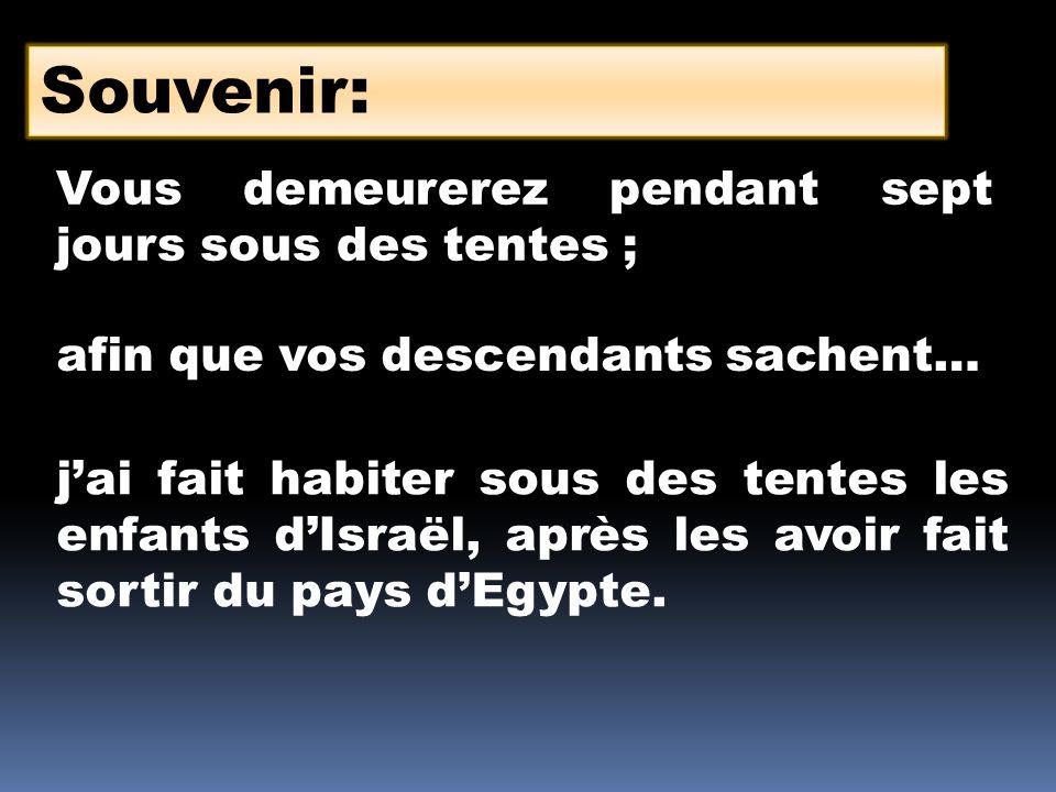Souvenir: Vous demeurerez pendant sept jours sous des tentes ; afin que vos descendants sachent… jai fait habiter sous des tentes les enfants dIsraël,