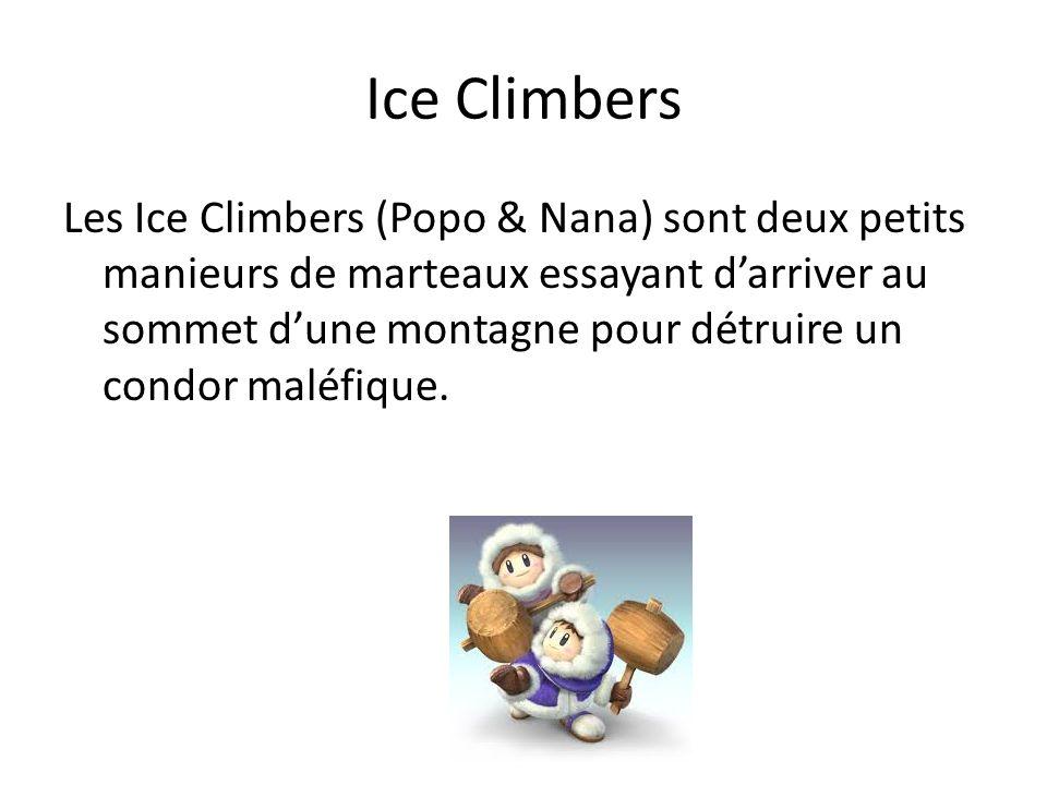 Ice Climbers Les Ice Climbers (Popo & Nana) sont deux petits manieurs de marteaux essayant darriver au sommet dune montagne pour détruire un condor ma