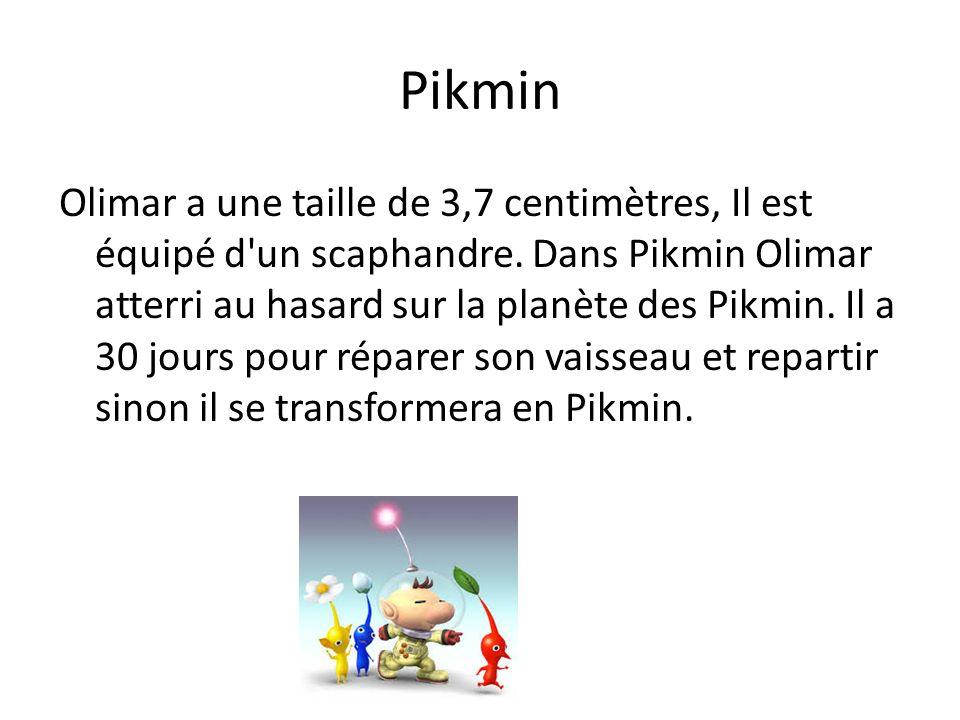 Pikmin Olimar a une taille de 3,7 centimètres, Il est équipé d'un scaphandre. Dans Pikmin Olimar atterri au hasard sur la planète des Pikmin. Il a 30